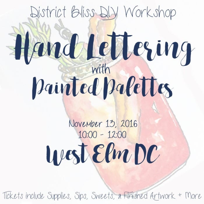 DIY Workshop: Hand Lettering with Painted Palettes at West Elm