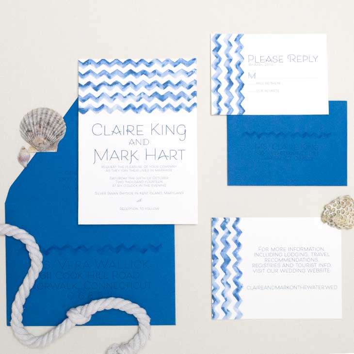 This watercolor chevron watercolor wedding invitation suite was created by CharmCat Creative