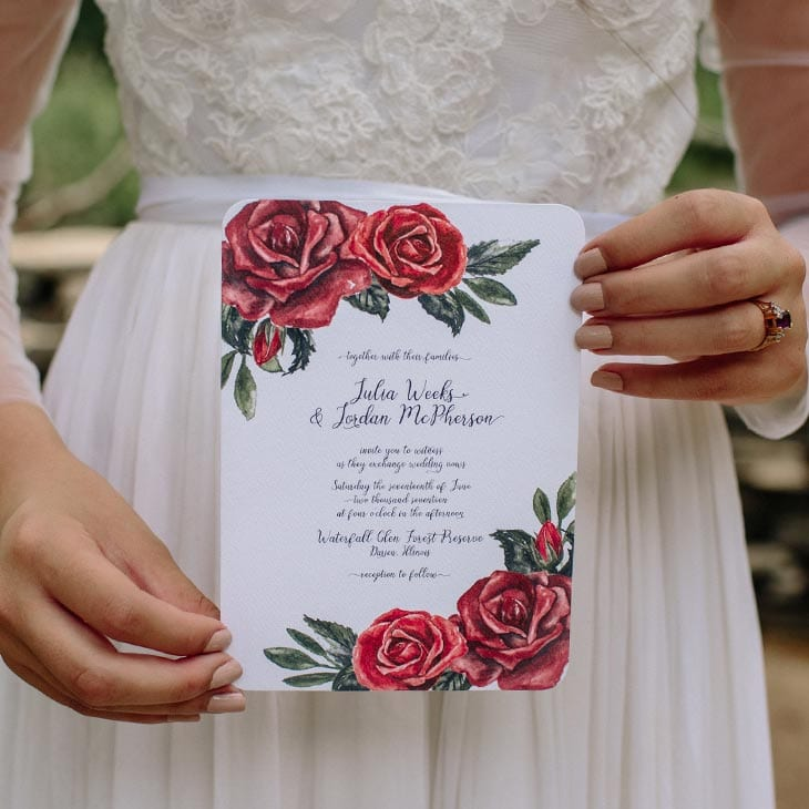 CharmCat Creative's beautiful wedding invitation is handpainted and unique